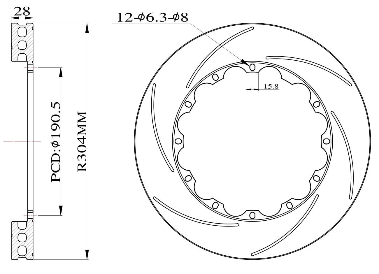 Tarcze hamulcowe nacinane do zestawu Big Brake 304mm 2009+ - GRUBYGARAGE - Sklep Tuningowy